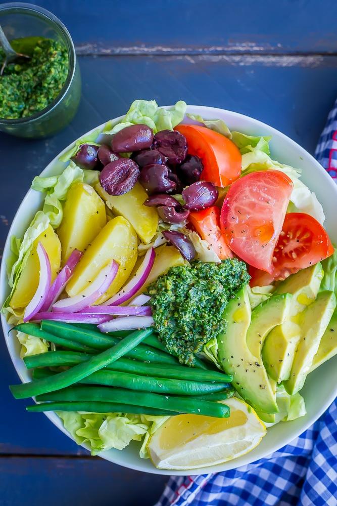 Avocado Nicoise Salad with Pesto from She Likes Food