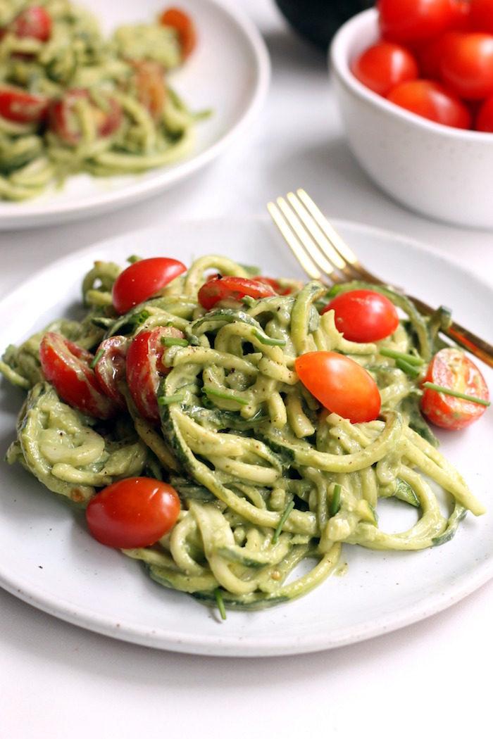 Avocado Basil Pesto Zucchini Noodles from Hummusapien