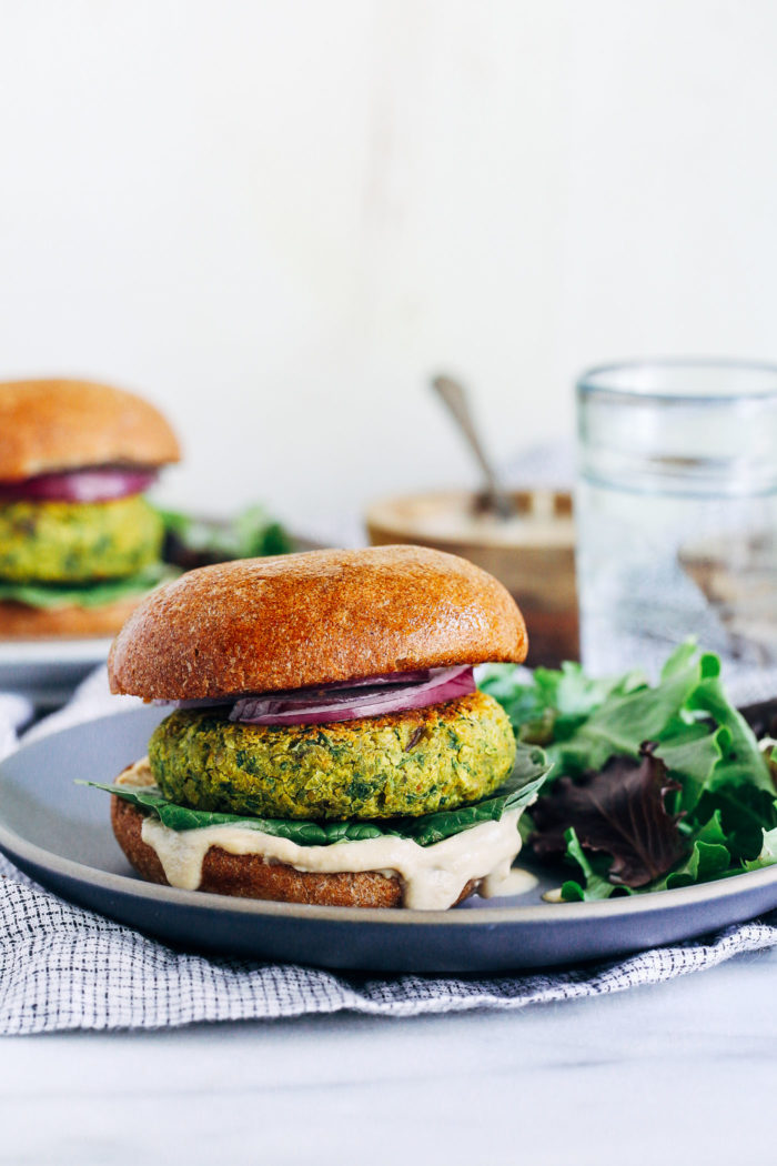Turmeric Falafel Burgers- a healthier version of falafel made with ground turmeric for an anti-inflammatory boost. Each burger has 10 grams of protein! (vegan, gluten-free + grain-free)