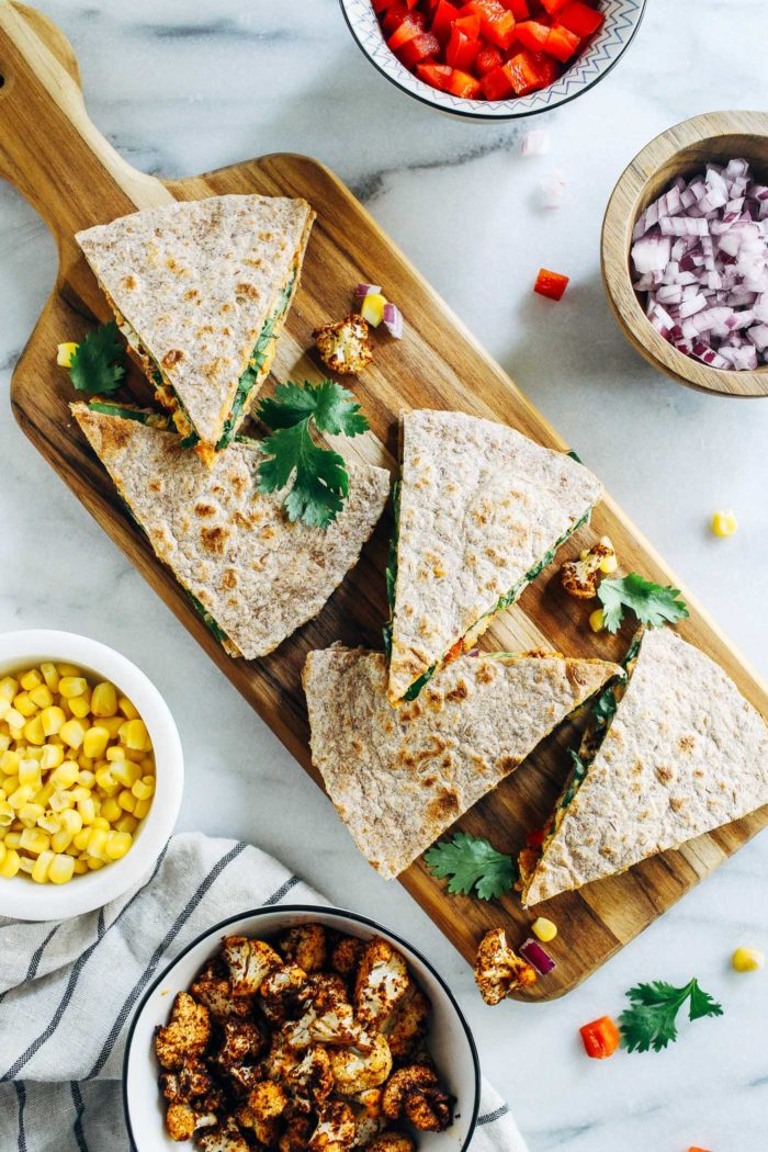 Roasted Cauliflower Hummus Quesadillas from Making Thyme for Health