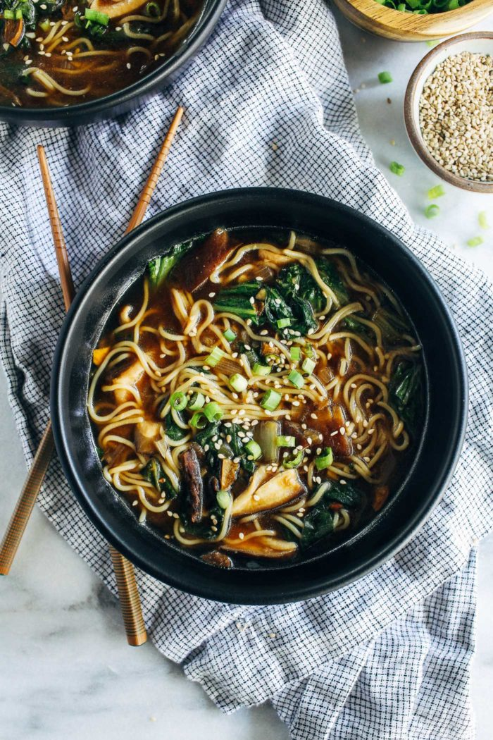 Easy Mushroom Ramen- just 10 ingredients and 30 minutes is all you need to make this cozy homemade ramen. (vegan, gluten-free + soy-free)