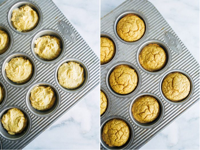 Vegan Pumpkin Cornbread Muffins- made with rolled oats and cornmeal, these muffins are naturally gluten-free and refined sugar-free with an oil-free option too!