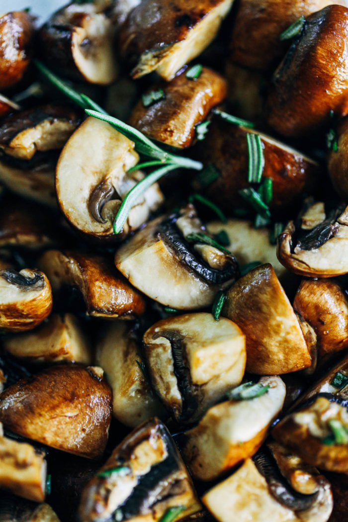 Sheet Pan Balsamic Rosemary Potatoes with Mushrooms, White Beans and Kale - all you need is 10 ingredients to make this easy sheet pan meal! (vegan, gluten-free + grain-free)
