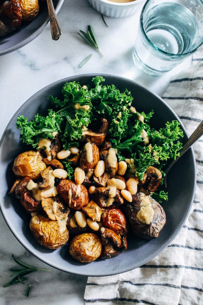 Sheet Pan Rosemary Potatoes with Balsamic Mushrooms and Kale from Making Thyme for Health
