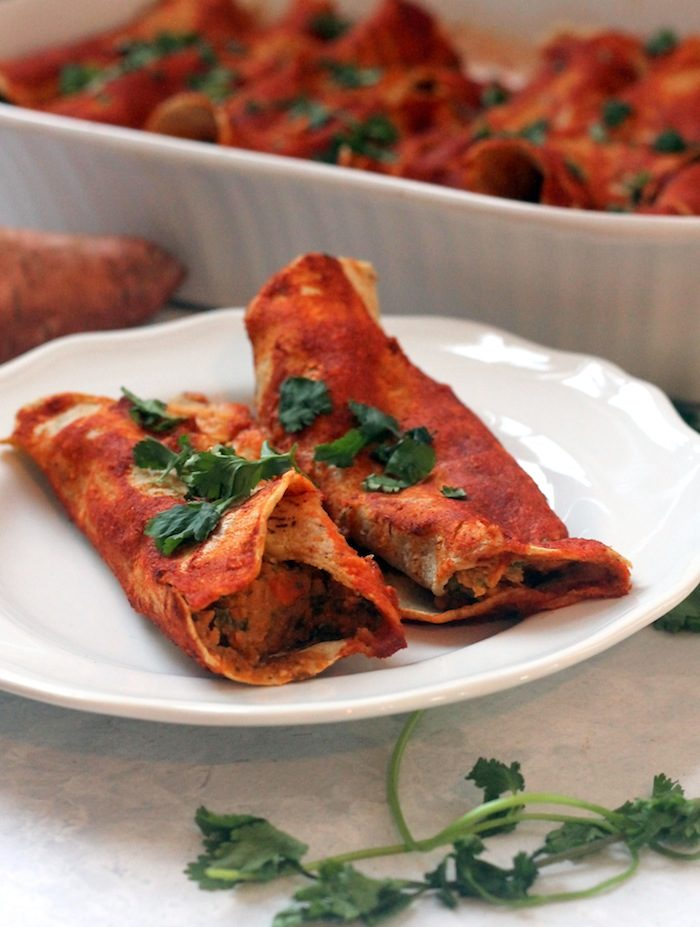 Vegan Sweet Potato Black Bean Enchiladas from Hummusapien