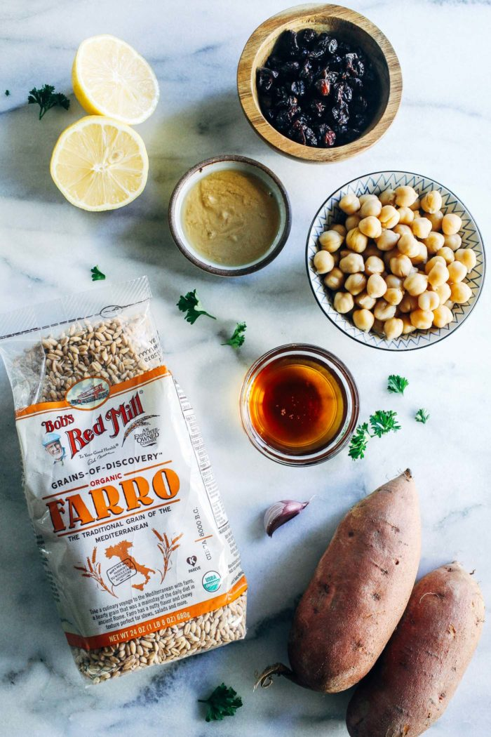 Roasted Sweet Potato, Kale and Farro Salad with Lemon Tahini Dressing- perfect for healthy lunches or a nutritious side item to serve for the holidays! (vegan + nut-free)