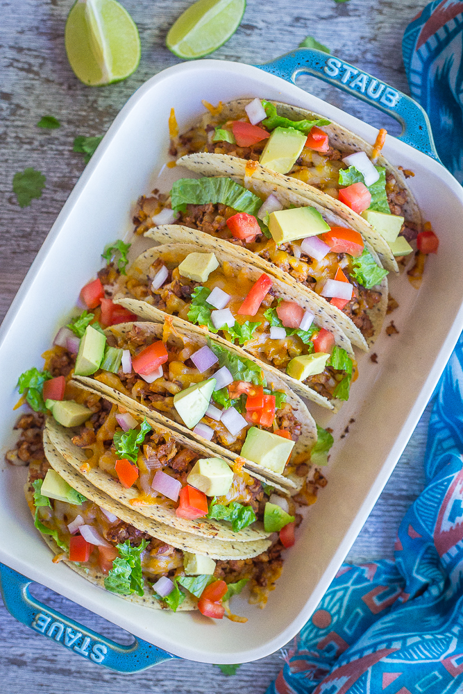 Crispy Baked Tacos with Seasoned Cauliflower from She Likes Food