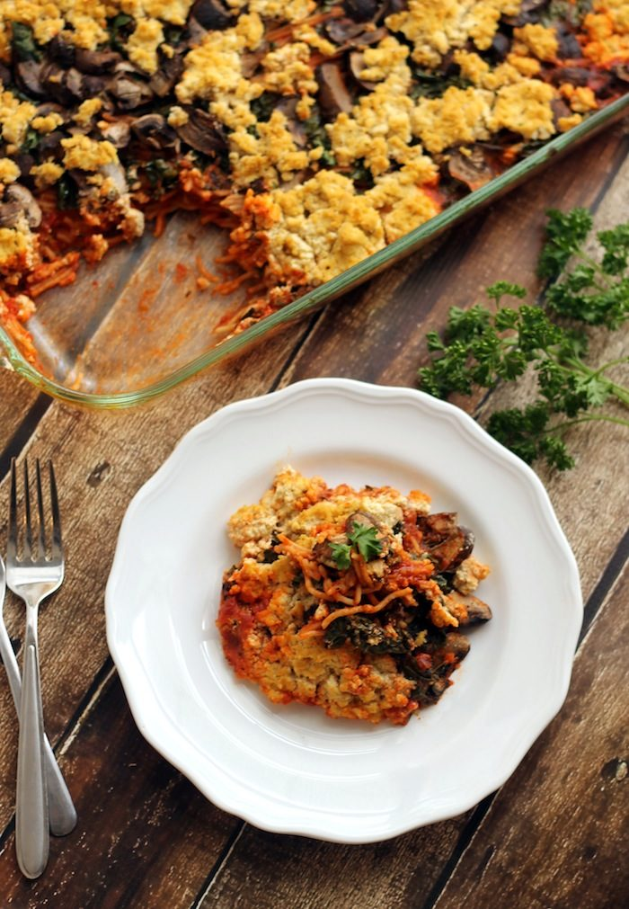 Baked Spaghetti with Kale, Mushrooms, and Tofu Ricotta from Hummusapien