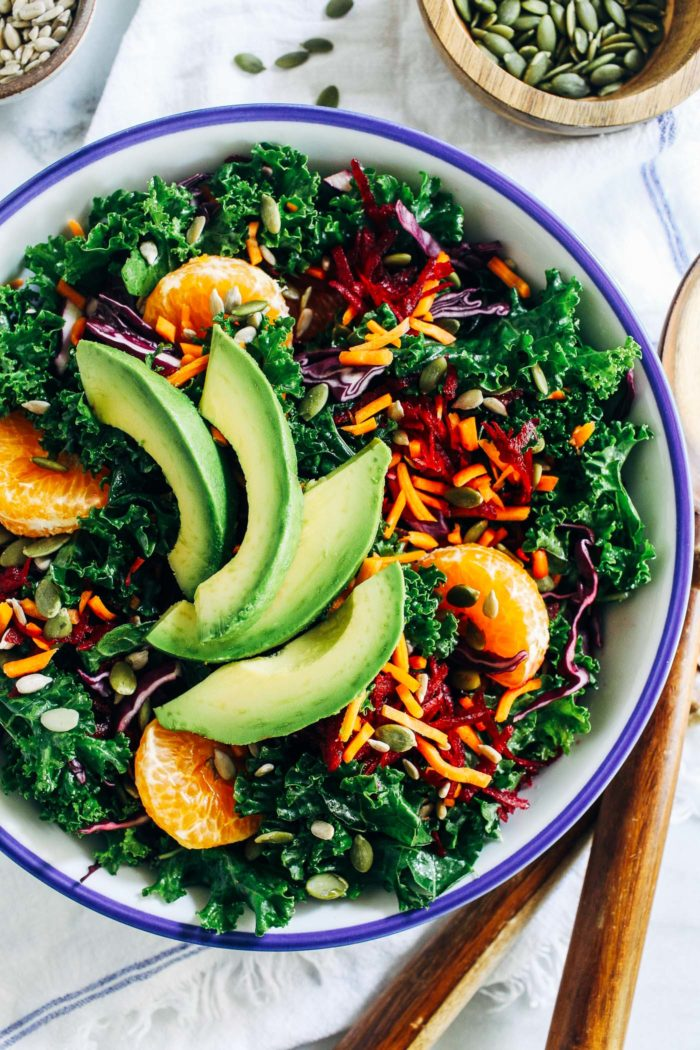 Renewing Rainbow Kale Salad from Making Thyme for Health