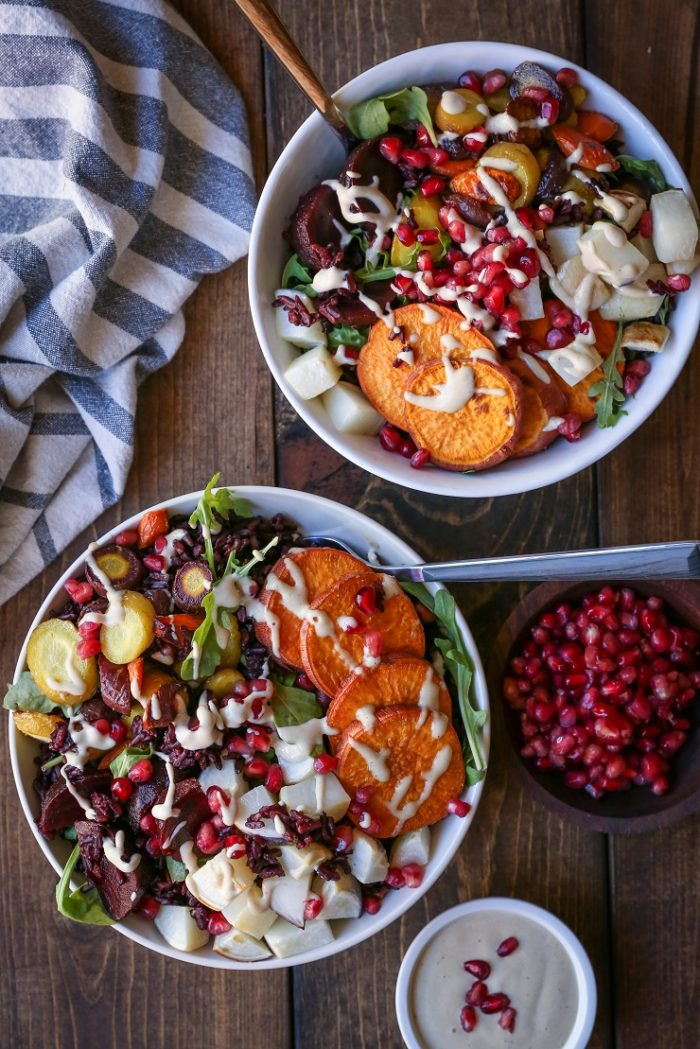 Roasted Winter Vegetable Bowls with Nutmeg Tahini from The Roasted Root