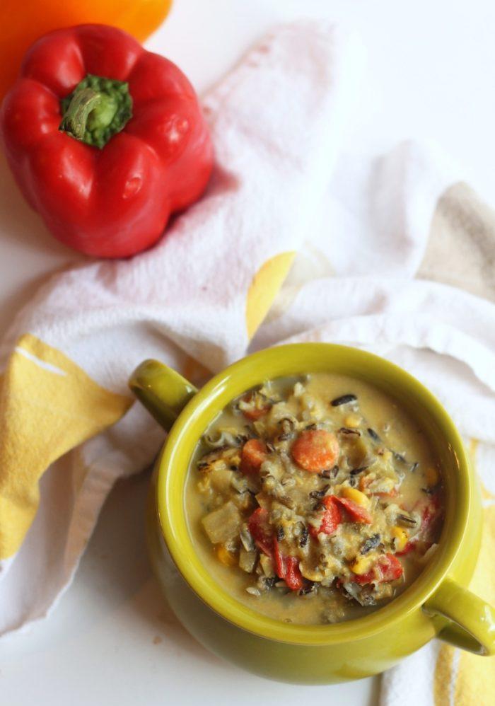 Vegan Corn & Wild Rice Chowder from Hummusapien