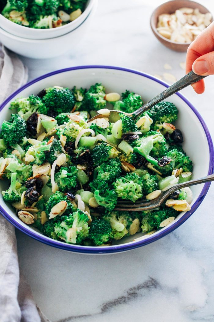Broccoli Salad with Almonds and Cranberries- all you need is 10 ingredients to make this mayo-free broccoli salad that's bursting with textures and flavors! (vegan + gluten-free)