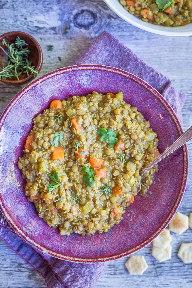 Curried Lentil and Quinoa Soup from She Likes Food