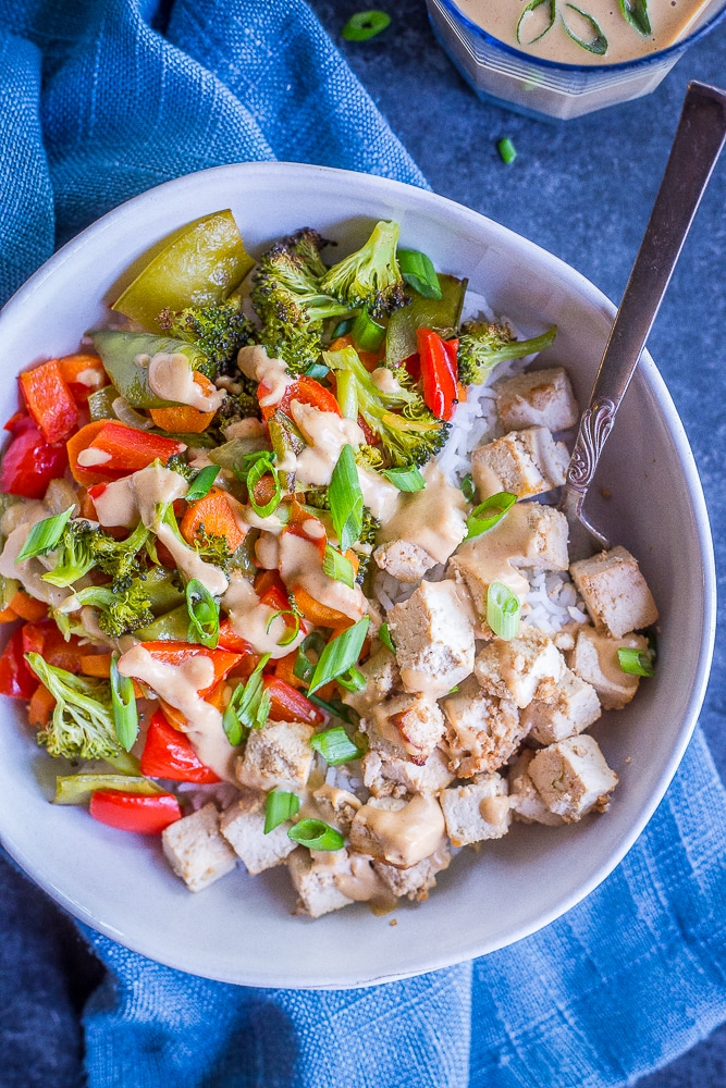 Sheet Pan Tofu and Veggie Bowls with Ginger Peanut Sauce from She Likes Food
