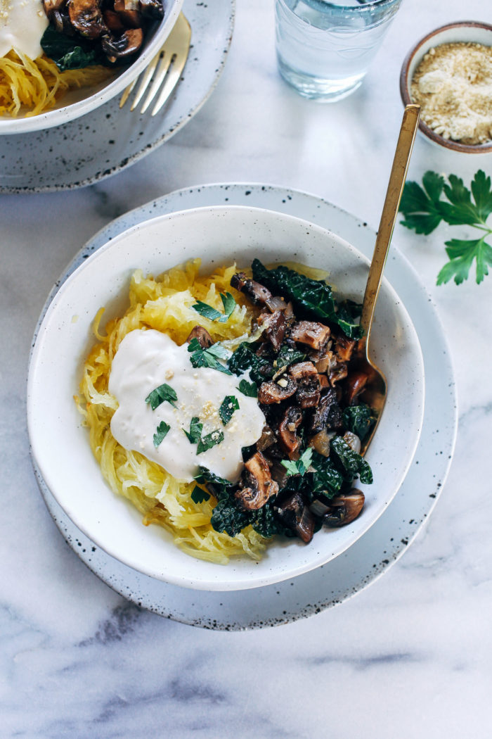 Spaghetti Squash with Cashew Alfredo from Making Thyme for Health