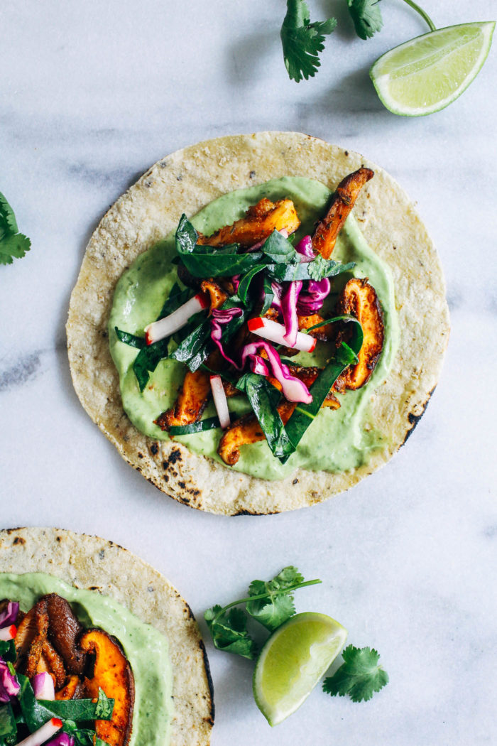 Blackened Mushroom Tacos with Collard Green Slaw from Making Thyme for Health