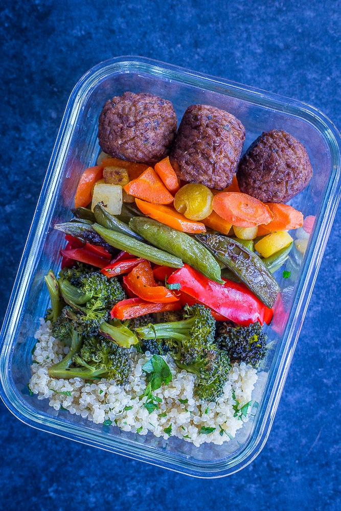 Spring Vegetable and Meatless Meatball Bowls from She Likes Food