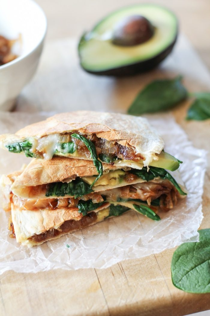 Caramelized Onion, Spinach, and Avocado Quesadillas from The Roasted Root