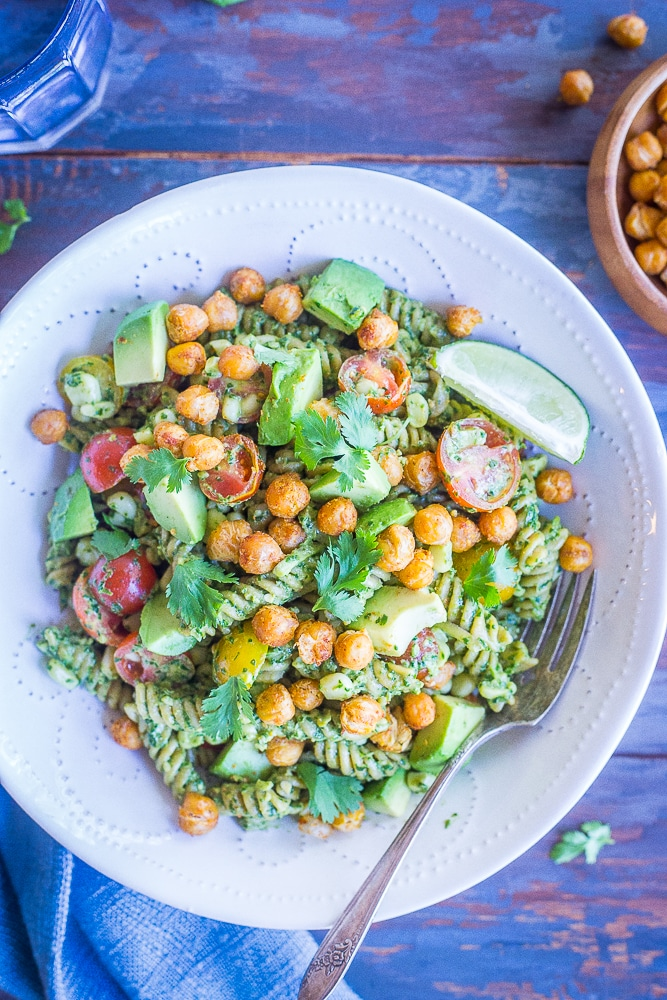 Southwestern Pesto Pasta with Crispy Chickpeas from She Likes Food