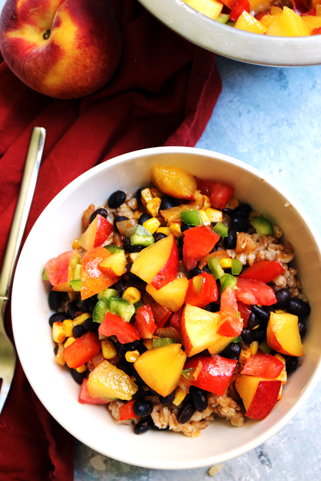Summer Bliss Farro Bowls with Peach Jalapeño Salsa from Eats Well With Others