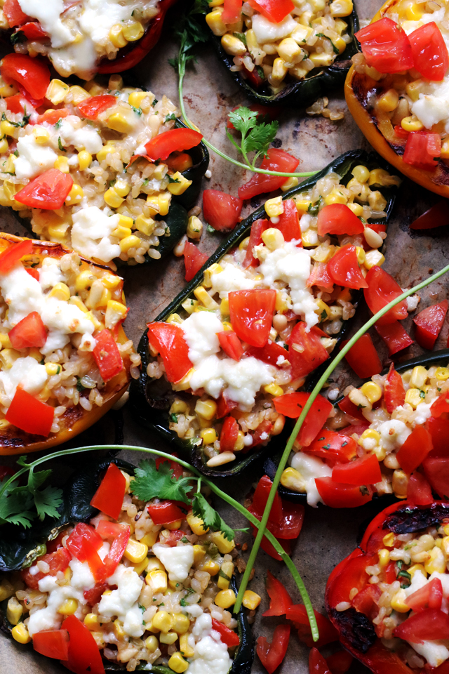 Summer Corn, Monterey Jack, and Brown Rice Stuffed Poblano Peppers from Eats Well With Others