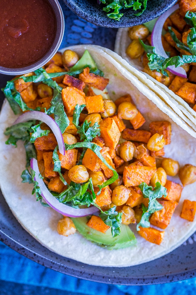 Sweet Potato and Chickpea Tacos with Lemony Kale Slaw from She Likes Food