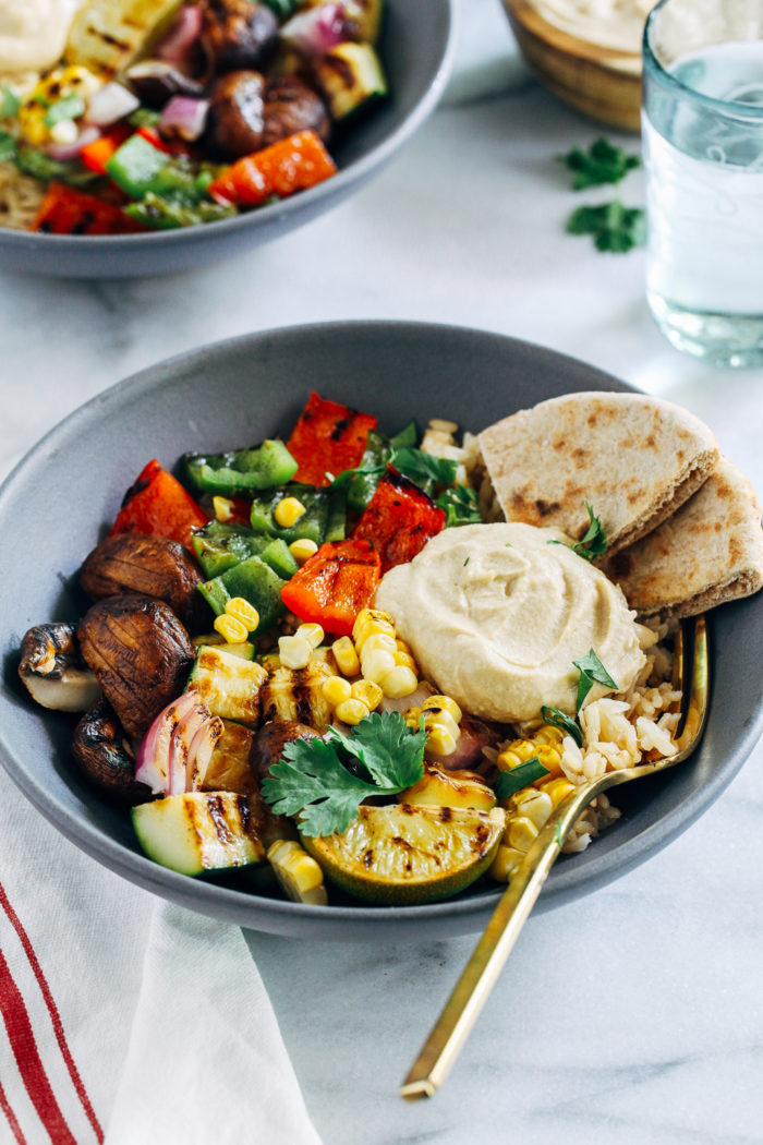Grilled Vegetable Hummus Bowls from Making Thyme for Health