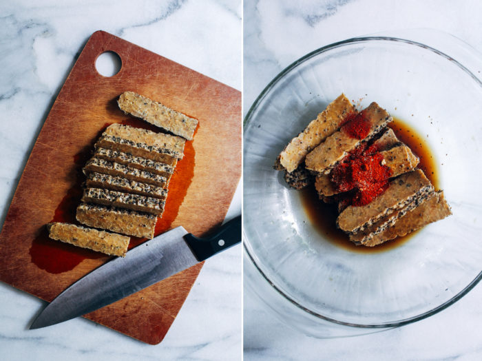 How to Make Tempeh Bacon- a simple method for making tempeh bacon at home. Perfect for tempeh BLTs all summer long!
