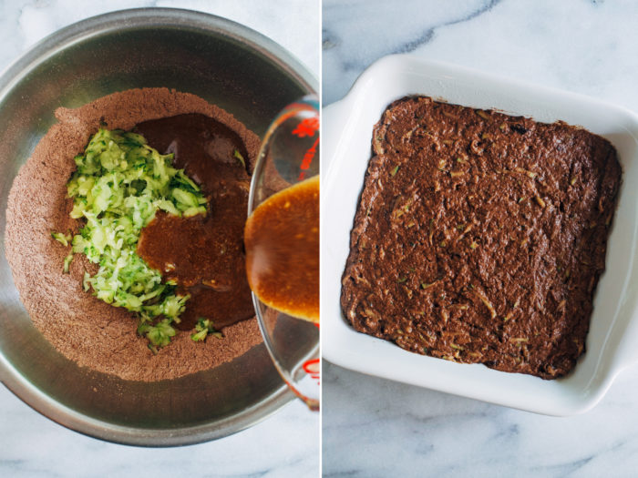 Vegan Chocolate Zucchini Snack Cake- naturally sweetened and whole grain, all you need is 1 bowl to make this nutritious whole grain zucchini cake! (oil-free option) #vegan #plantbased #healthybaking #wholegrain #wfpb