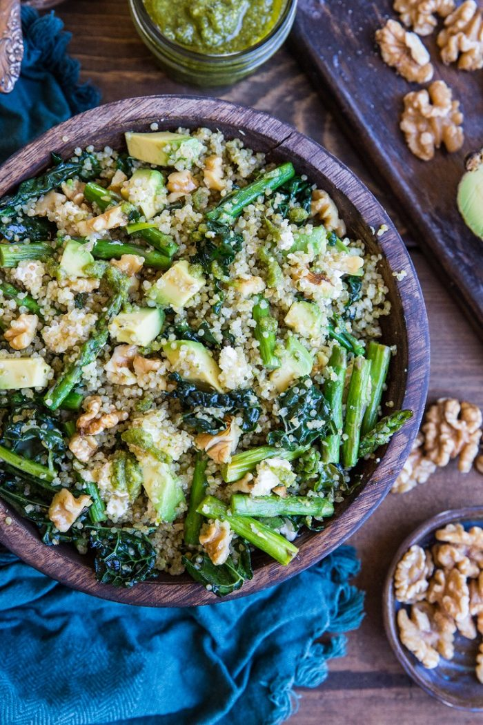 Pesto Quinoa Salad with Asparagus, Avocado, and Kale The Roasted Root