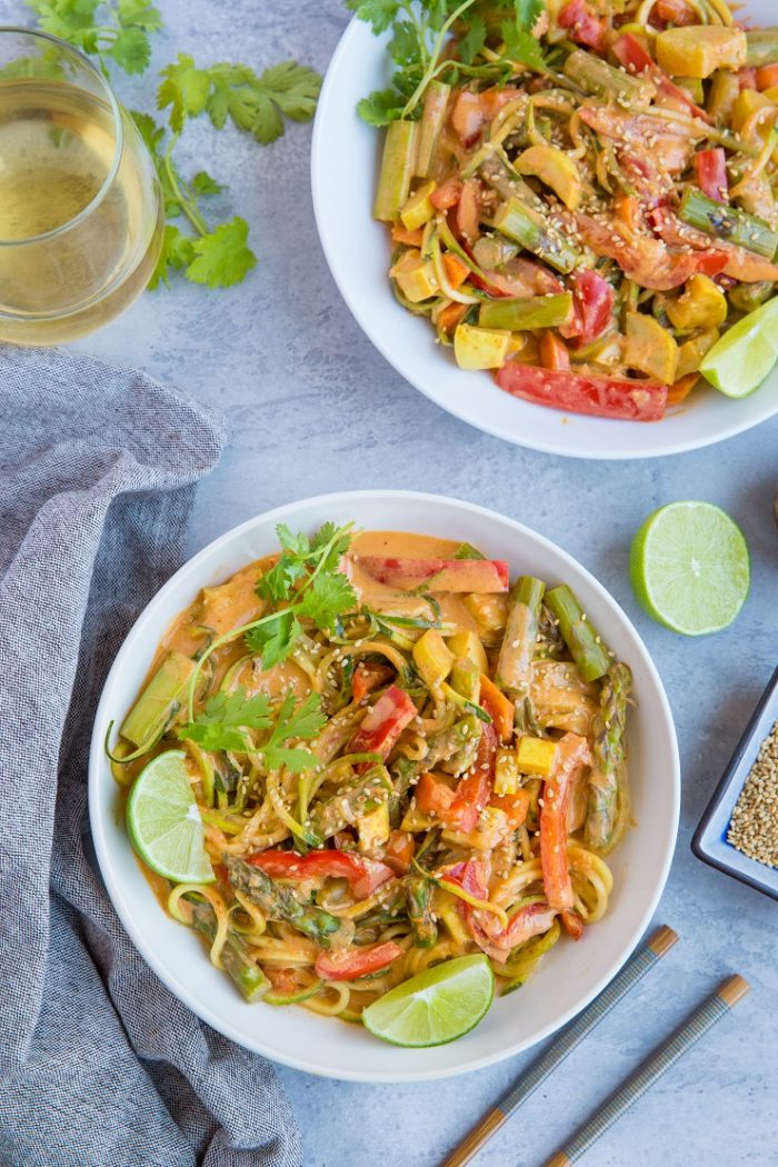 Vegan Red Curry Zucchini Noodle Bowls from The Roasted Root