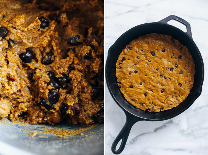 Vegan Pumpkin Cookie Skillet- moist and packed full of fall-inspired flavor, no one would guess this pumpkin cookie skillet is vegan and gluten-free! #plantbased #vegan #glutenfree #pumpkinrecipes #fallrecipes #healthydesserts