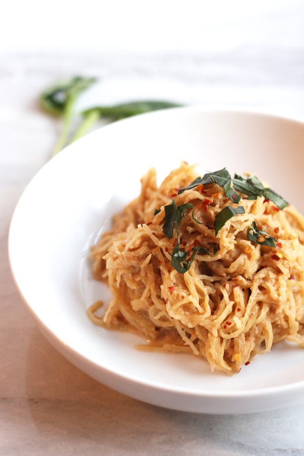 Spaghetti Squash with Tomato Basil Cream Sauce from Hummusapien
