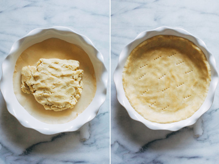 5-Ingredient Grain-free Vegan Pie Crust- all you need is one bowl and 10 minutes to make this delicious, buttery pie crust. No one will ever guess it's vegan and gluten-free!