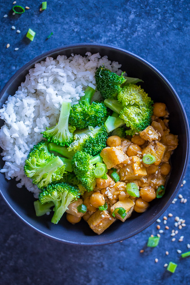 Orange Tofu Chickpea Bowls from She Likes Food