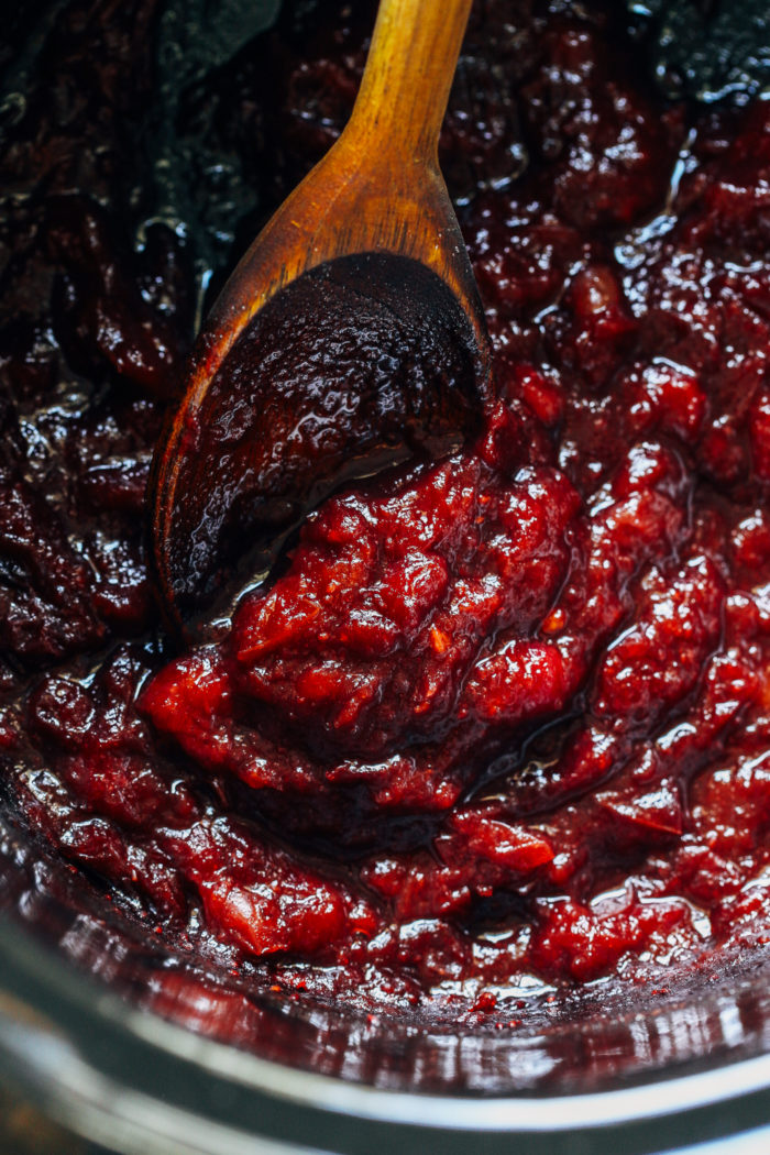 Easy Slow Cooker Cranberry Sauce- all you need is 3 simple ingredients (not including water) to make this easy homemade cranberry sauce that's so much better than store bought!