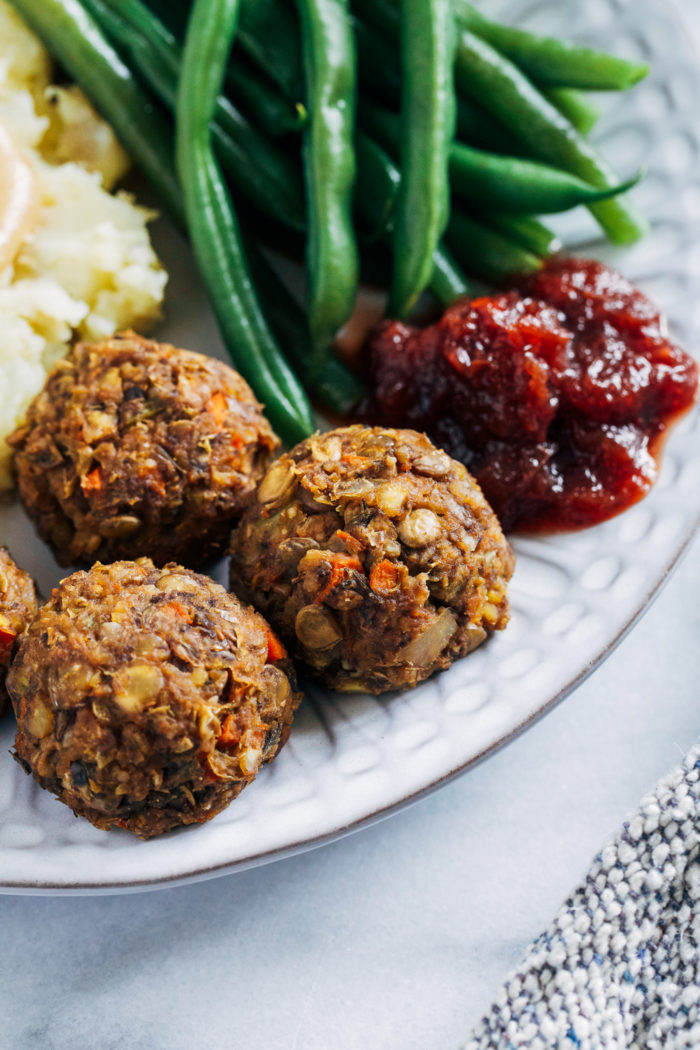 Vegan Thanksgiving 'Meatballs'- hearty, satisfying and packed full of umami flavor, these vegan 'meatballs' are gluten-free, grain-free and nut-free.  They're so delicious even the meat eaters will be gobbling them up!