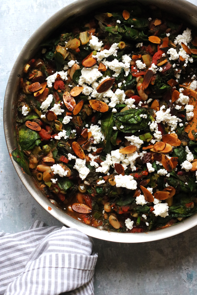 White Bean and Chard Ragout with Spinach and Toasted Almonds from Eats Well With Others