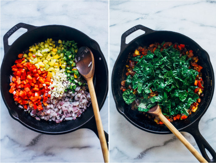 Mexican Black Eyed Peas and Greens- hearty black eyed peas are infused with Mexican-inspired spices and served with healthy greens for good luck and fortune in the new year!