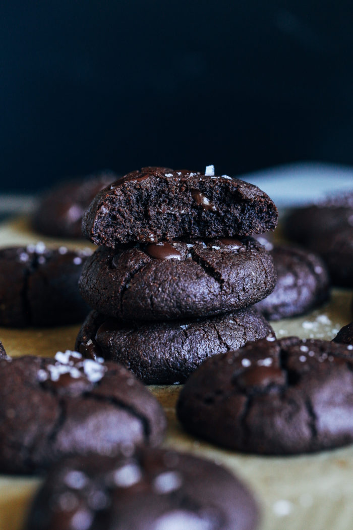 Vegan Gluten-free Double Chocolate Cookies- made with a combination of whole grain oat flour and almond flour, no one would ever guess these chocolatey cookies are made without dairy or wheat!