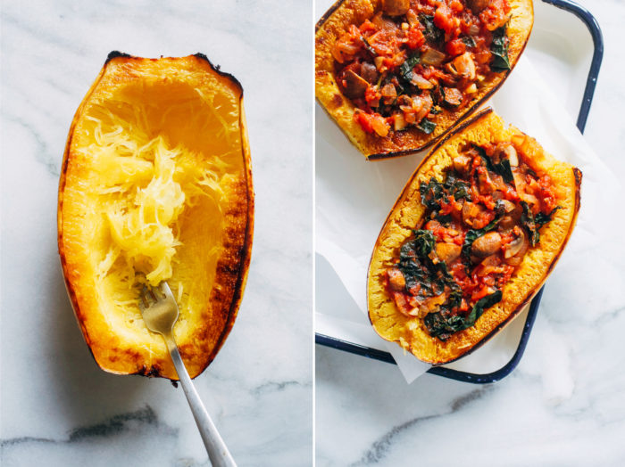 Vegan Spaghetti Squash Lasagna Bowls- layered with a hearty vegetable filling and topped with creamy cashew ricotta, these lasagna bowls make for a flavorful and filling plant-based meal!