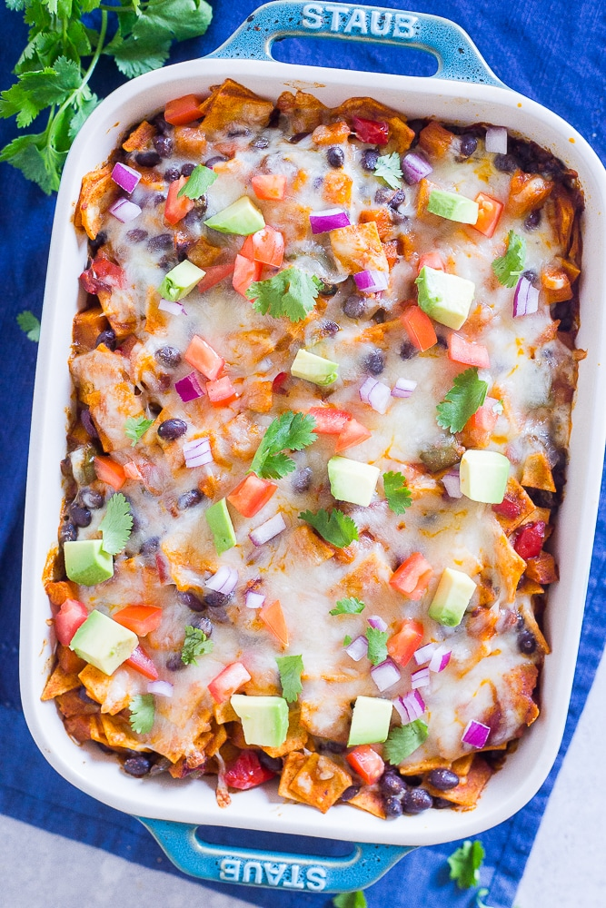 Black Bean Enchilada Casserole from She Likes Food