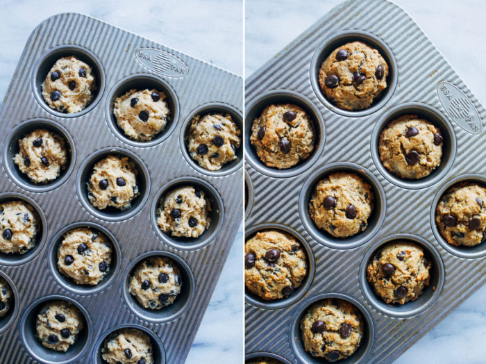 Cassava Flour Chocolate Chip Banana Muffins- all you need is just 10 ingredients to make these naturally sweetened muffins. No one will ever guess they are grain-free!