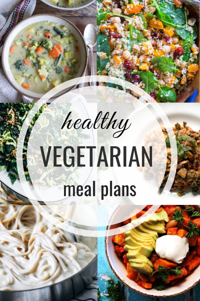 Healthy Vegetarian Meal Plans- including prep ahead tips + vegan and gluten-free substitutes!