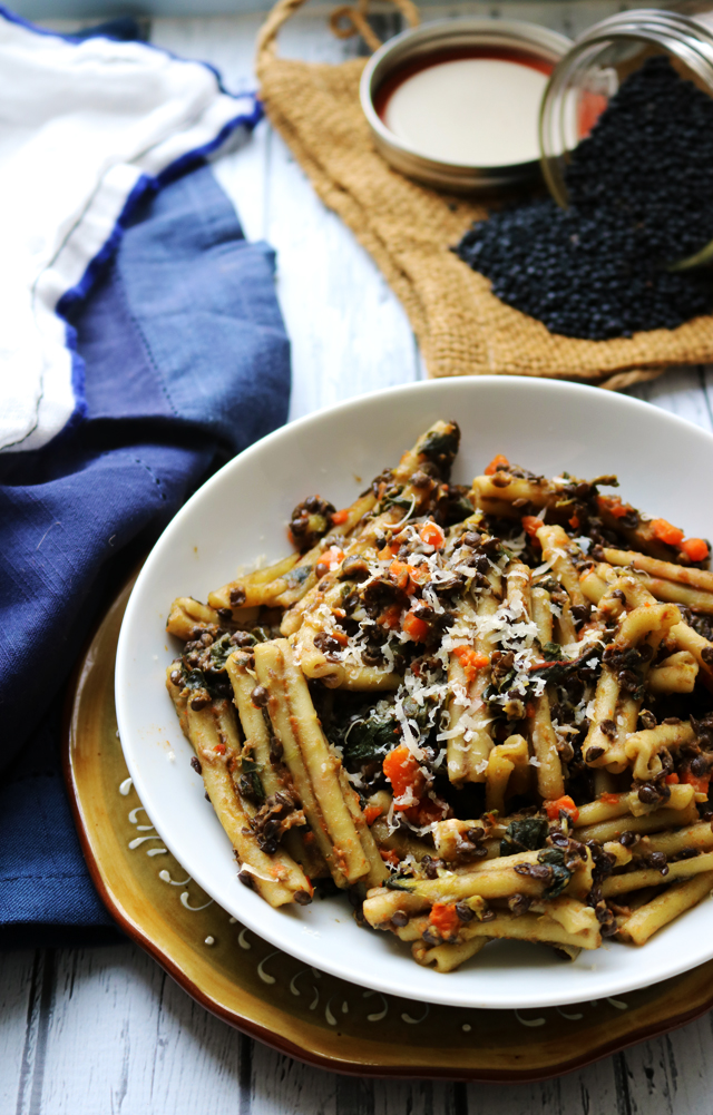 Pasta with Black Lentil, Carrot, and Chard Ragout from Eats Well With Others