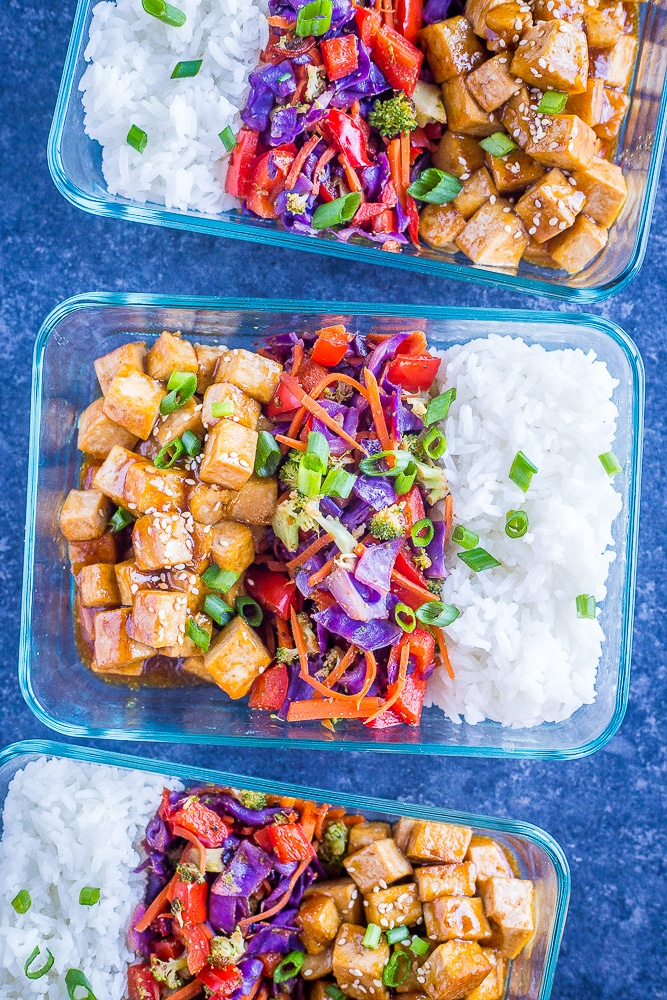 Sesame Ginger Tofu Bowls from She Likes Food
