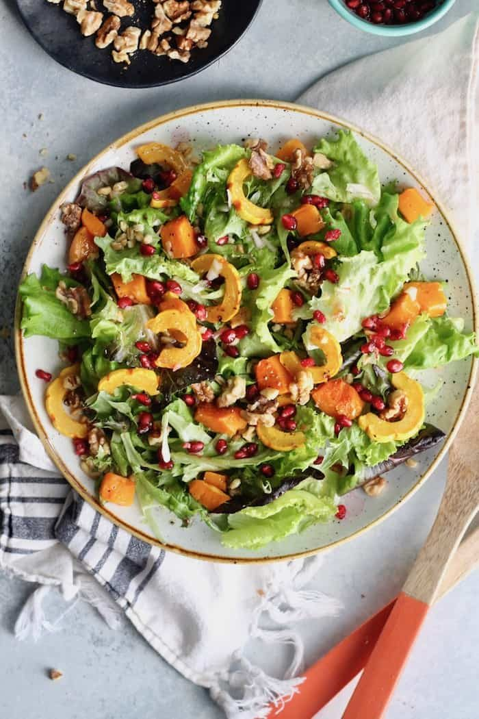 Winter Squash, Farro and Pomegranate Salad with Shallot Vinaigrette from Hummusapien