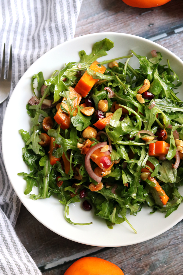 Persimmon and Pomegranate Salad with Arugula and Hazelnuts fromEats Well With Others