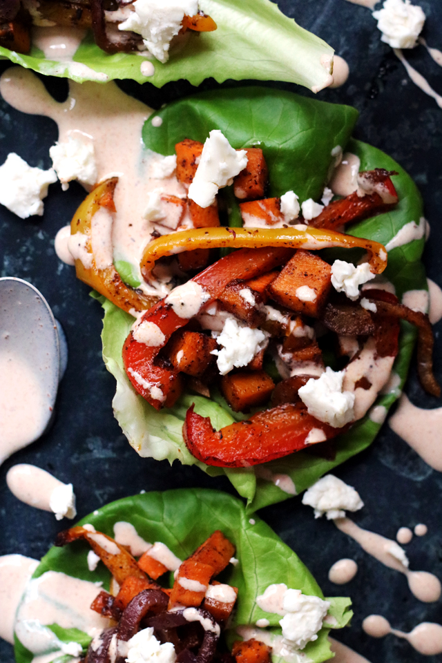 Roasted Vegetable Fajita Lettuce Wraps from Eats Well With Others