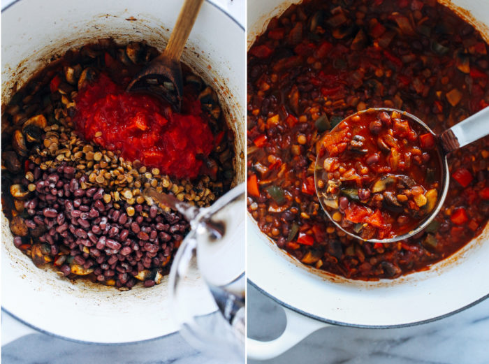 The Best Vegan Chili- made with a combo of hearty lentils and mushrooms, this recipe is sure to become your new favorite plant-based chili!